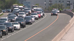 Stock Video Footage of Traffic jam chaos gridlock congestion due to new HOV transit lanes on highway