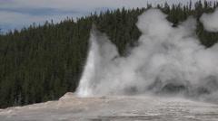 Old Faithful end of eruption Yellowstone 4K Stock Footage