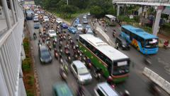 Road bottle neck area congestion time lapse shot, perspective view from above Stock Footage