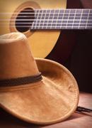 American Country music background with cowboy hat Stock Photos