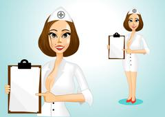 beautiful doctor holding clipboard - stock illustration