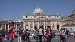 4K Vatican Rome Saint Peter's Square Crowd People Tourists St Peter's Basilica Stock Footage
