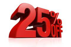 3D render red text 25 percent off. - stock illustration
