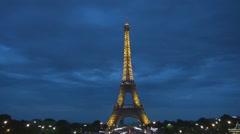 Great night lights in Paris Eiffel tower illuminated France world tourism symbol - stock footage
