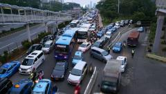 Moving traffic jam timelapse, road merge, bottle neck congestion - stock footage