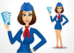 beautiful stewardess holding cheap airline tickets - stock illustration