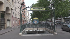 Station subway hole, exit to surface, metropolitain sign Paris, parisian commute - stock footage