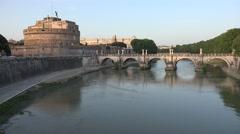4K Rome Italy Castle Saint Angel's Bridge Castel St. Sant'Angelo Sunset View Stock Footage