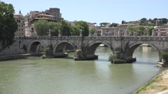4K Rome Italy Ponte Vittorio Emanuele II Bridge Traffic Buses Driving, Tourists Stock Footage