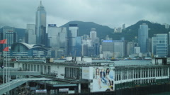 Billboard advert with Hong Kong back drop 4K Stock Footage
