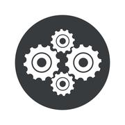 Stock Illustration of Monochrome round cogs icon