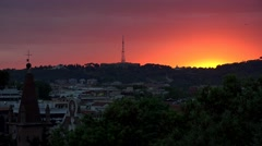 4K Sunset in Rome, Italy, Sundown Dramatic Setting City, District View in Dusk Stock Footage
