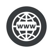 Monochrome round global network icon - stock illustration