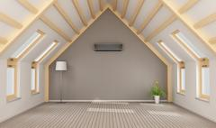 Modern attic without furniture - stock illustration
