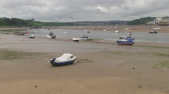 River Torridge and Boats at Low Tide Instow North Devon Stock Footage