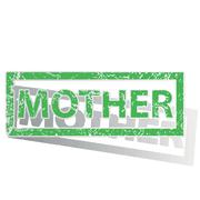 Green outlined MOTHER stamp - stock illustration