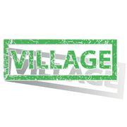 Green outlined VILLAGE stamp - stock illustration