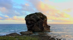 Chuanfanshih (Sail Rock) in the Kenting National Park in Taiwan Stock Footage