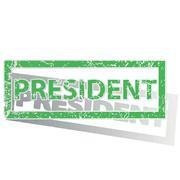 Green outlined PRESIDENT stamp Stock Illustration
