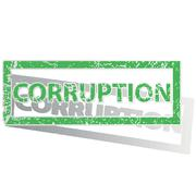 Green outlined CORRUPTION stamp Stock Illustration