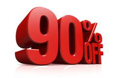3D render red text 90 percent off. Stock Illustration
