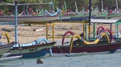 Sanur Bali Fishing Boats on The Beach 4K Stock Footage