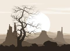 Lifeless landscape with old huge tree and mountains over sunset. - stock illustration