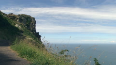 South West Coastal Footpath in Valley of the Rocks in North Devon Stock Footage