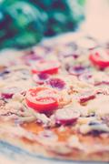 Homemade classic pizza Stock Photos