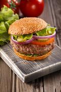 Classic Burger close up. Stock Photos