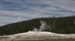 Old Faithful Geyser steam before eruption Yellowstone 4K Stock Footage