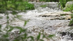 Mountain river with many bends and vegetation in slow motion Stock Footage