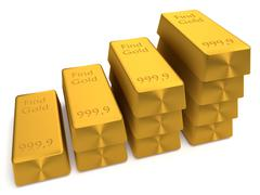 3d gold bullions Stock Photos