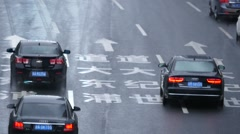 car moving fast on the road,Shanghai:time lapse - stock footage