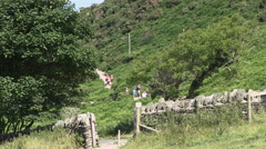 Valley of the Rocks and Walkers in North Devon Stock Footage