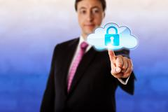 Smiling Businessman Touching A Locked Cloud Icon - stock illustration