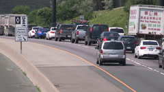 Traffic jam chaos gridlock congestion due to new HOV transit lanes on highway - stock footage