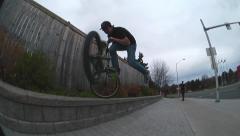 Amazing bmx tailwhip nosepick street sub box Stock Footage
