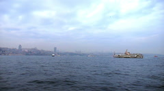 Cloudy Bosphorus View from a Ferry Stock Footage