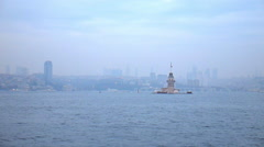 Slow Motion Maiden's Tower Bosphorus Istanbul - stock footage
