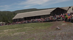Tourist crowd at Old Faithful Geyser Yellowstone Park 4K Stock Footage