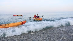 Asian young people are in an ocean going kayak,Taiwan Stock Footage