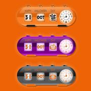 Halloween day with table flap clocks and number counter Stock Illustration