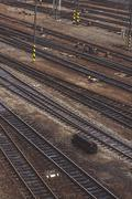 Aerial Top View of Intersecting Rails Stock Photos