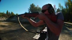 Rifle shooting in slow motion Stock Footage