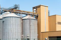 Storage facility cereals, and bio gas production Stock Photos