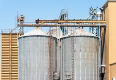 Storage facility cereals, and bio gas production - stock photo
