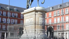 Statue of Philip III in Madrid Stock Footage
