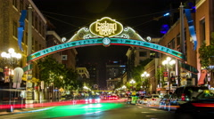 San Diego's Historic Gaslamp Quarter Saturday Night Timelapse Arkistovideo