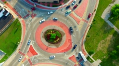 Scenic Aerial Time Lapse of Roundabout, Cars Speeding in Circle - stock footage